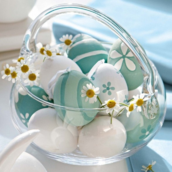Robins egg blue and white painted Easter eggs
