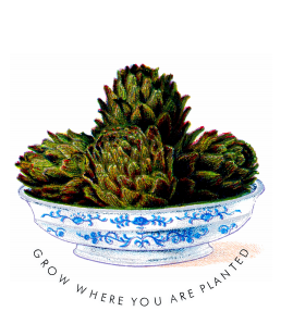 Grow Where You Are Planted Blue White Bowl