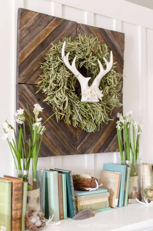 Spring mantel antler wreath bird's nest | decorating with books