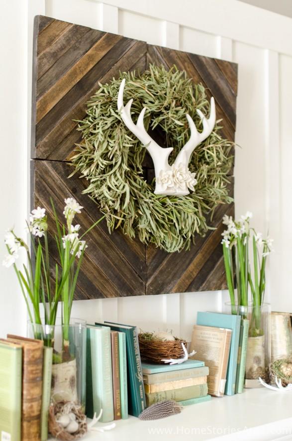 Spring mantel idea | antlers wreath