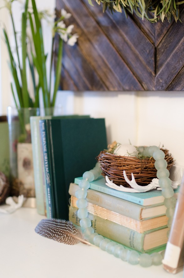 Spring mantel ideas. Birds nest and books mantel