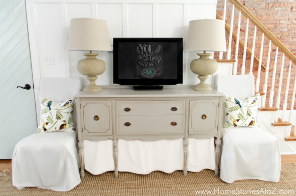 Vintage buffet decorating around tv