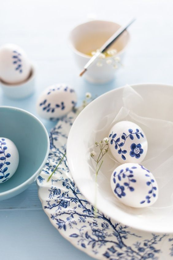 blue and white easter eggs