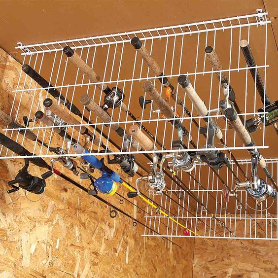 16 brilliant diy garage organization ideas for Homemade fishing rod storage ideas