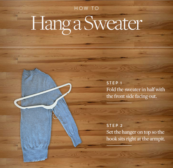 how to hang a sweater on hanger