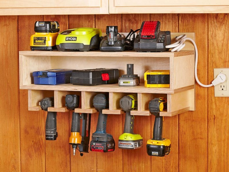 11  Cordless Tool Station. 16 Brilliant DIY Garage Organization Ideas