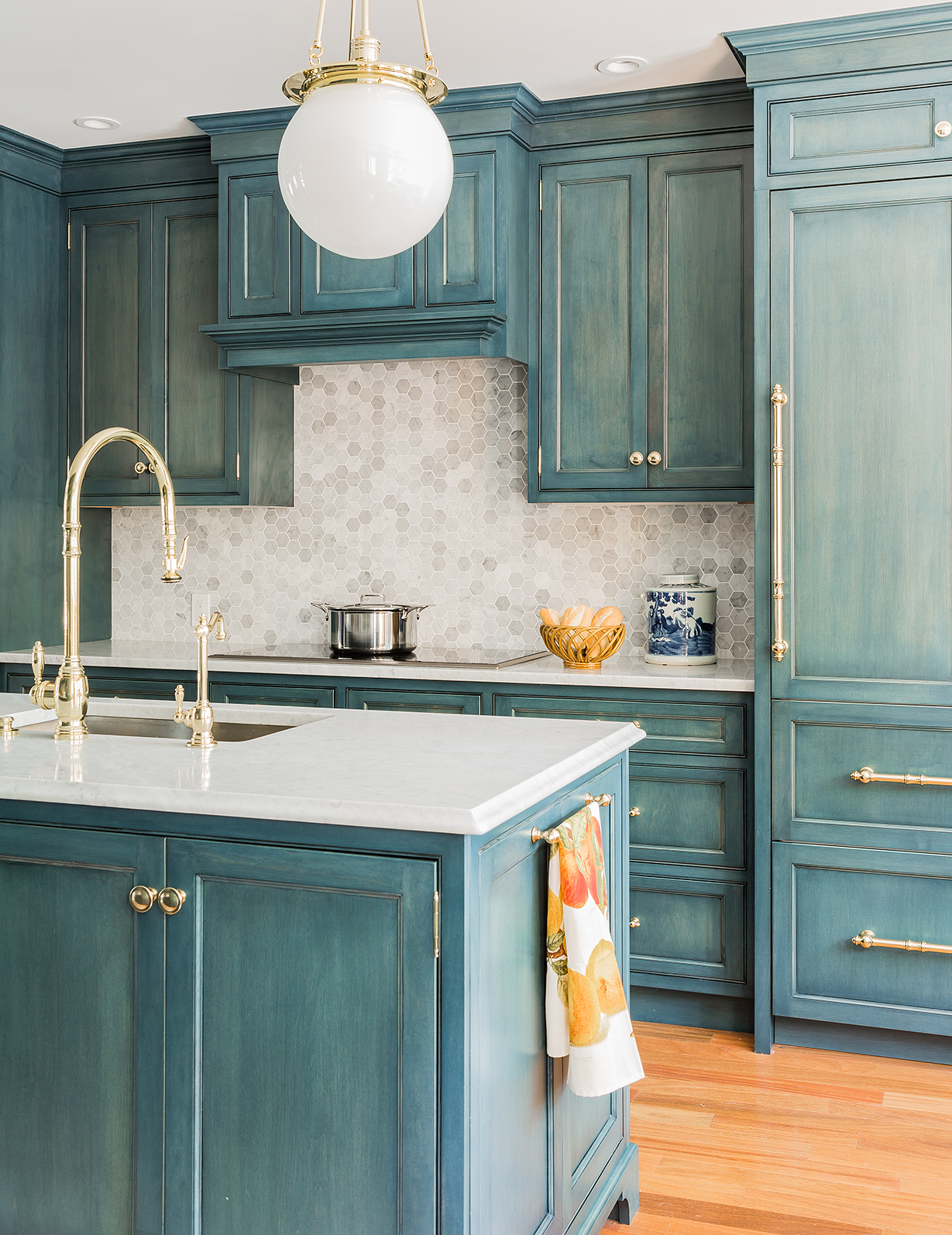 Lovely Beautiful Blue Glazed Cabinets Photo