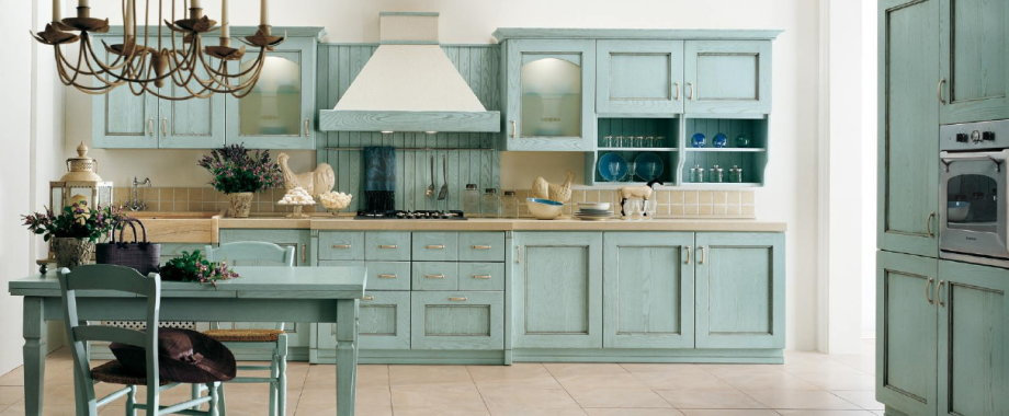 beautiful blue painted kitchen cabinets