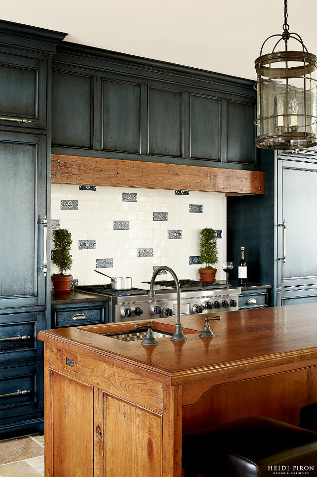 Benjamin Moore Mozart Blue with black glaze blue kitchen cabinets