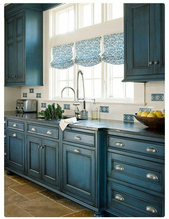 Blue Kitchen cabinets with dark glaze