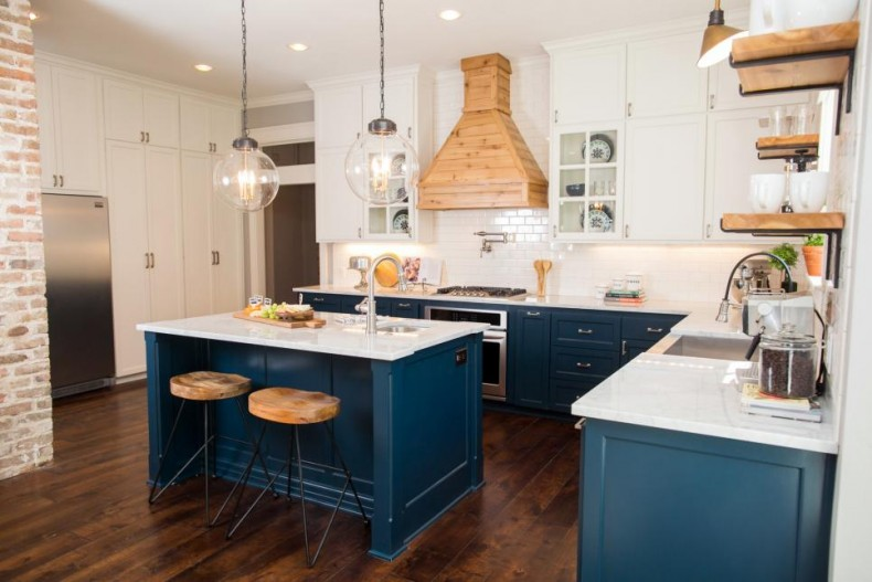 beautiful Blue Kitchen Cabinets #2: Fixer Upper craftsman blue kitchen cabinets