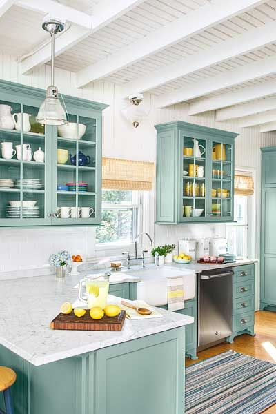Green blue kitchen cabinets
