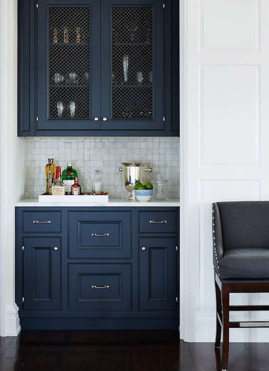 23 gorgeous blue kitchen cabinet ideas for Dark blue kitchen cabinets