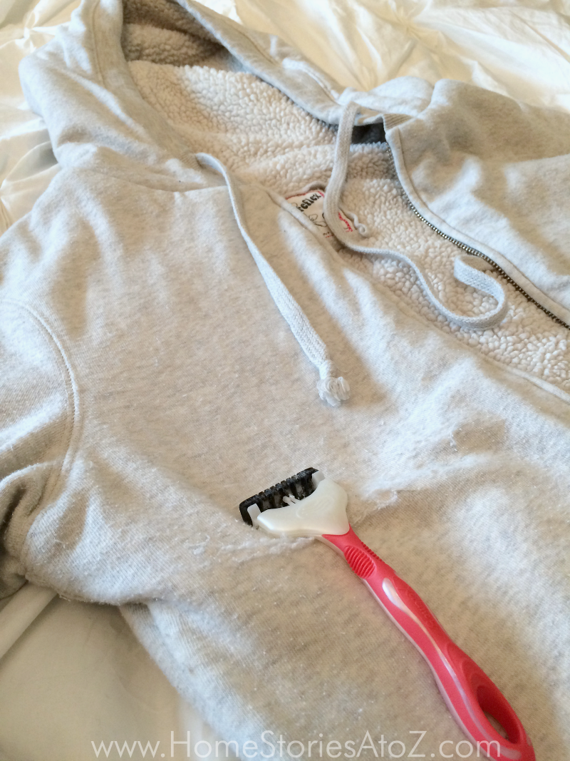 Use a disposable razor to remove pills from clothes how to remove pills from cothes