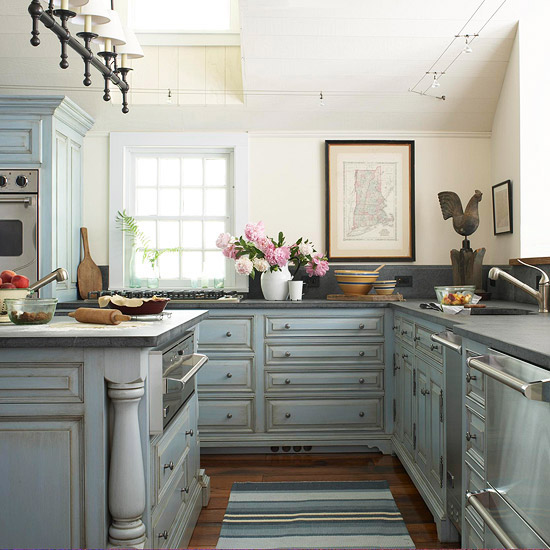 Blue Glazed Kitchen Cabinets