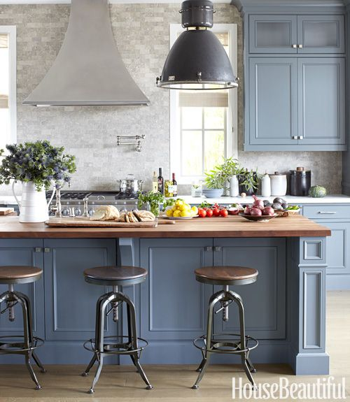 Gorgeous Blue Kitchen Cabinet Ideas - Bluish grey kitchen cabinets