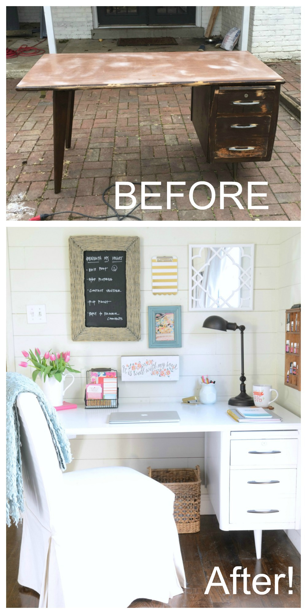 How to paint a vintage buffet home stories a to z - Desk Makeover Jpg