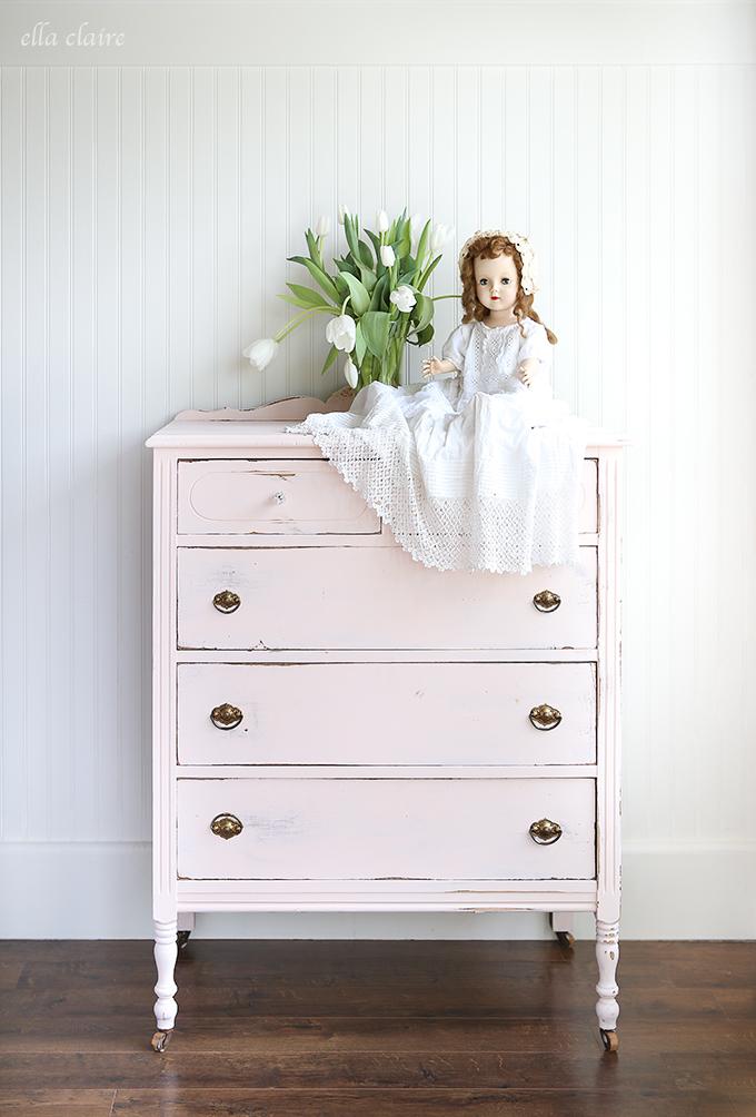 painted-pink-vintage-Dresser-DIY