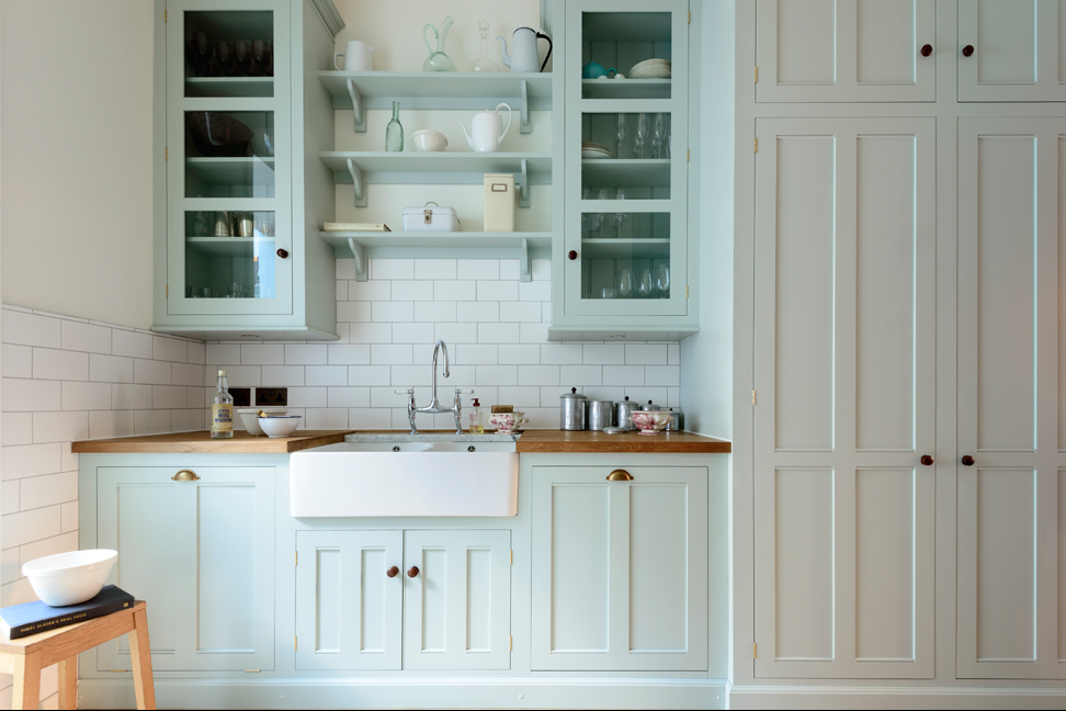 Sea Salt Blue Kitchen Cabinets