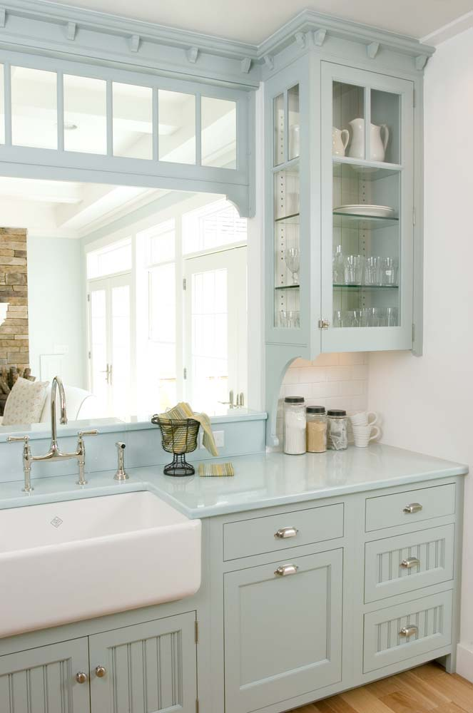 MY LATEST VIDEOS. Image Source: Crown Point Cabinetry. Crown Point Cabinetry  Light Blue Cabinets