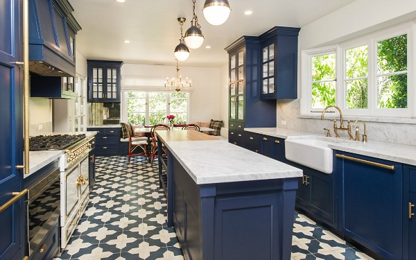 Zoey Deschanel Blue Kitchen Cabinets