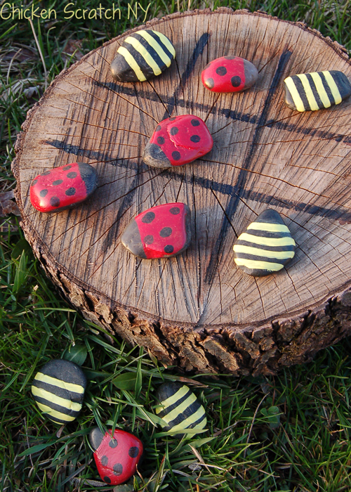 DIY Outdoor Stone Tic Tac Toe Game