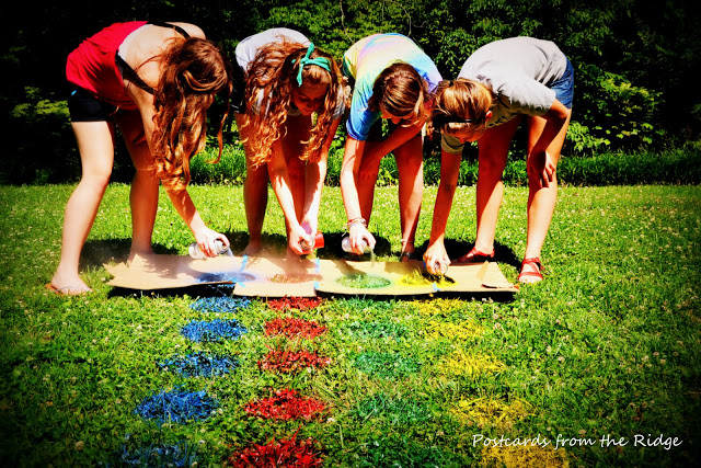 DIY Outdoor Twister with spray paint on lawn