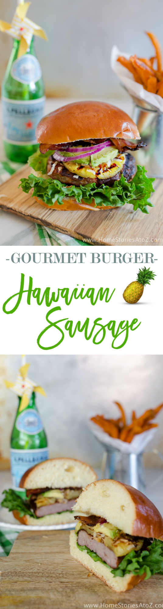 Fantastic gourmet burger recipe! Hawaiian Sausage Burger made with sausage, grilled pineapple, toasted coconut, avocado, and jalapeno bacon