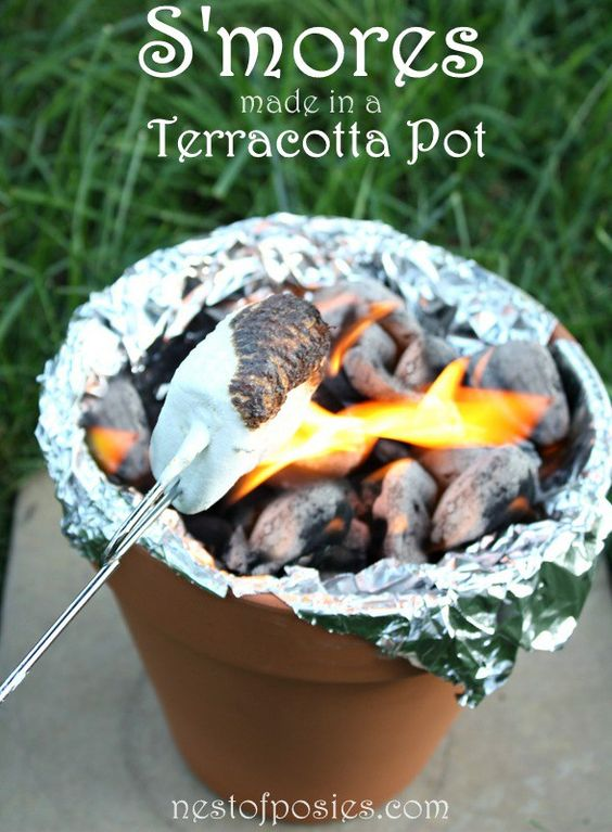 S'mores in a Terra Cotta Pot