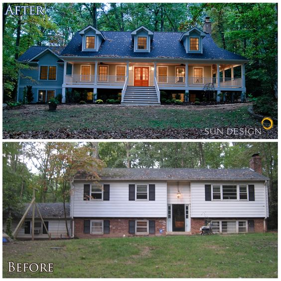 20 home exterior makeover before and after ideas House transformations exterior