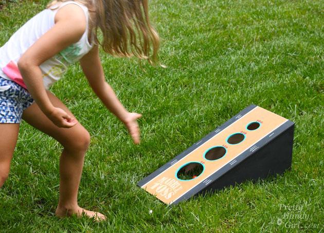 diy marble toss backyard game
