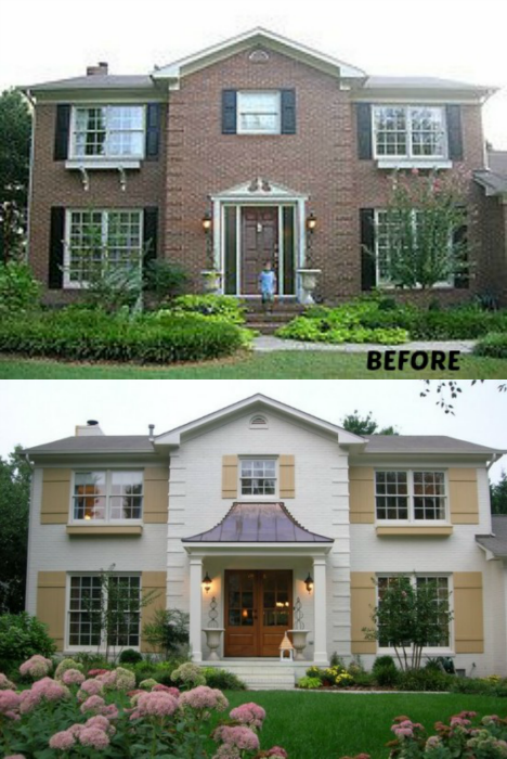 20 home exterior makeover before and after ideas home stories a to z - Painted brick exterior pictures set ...