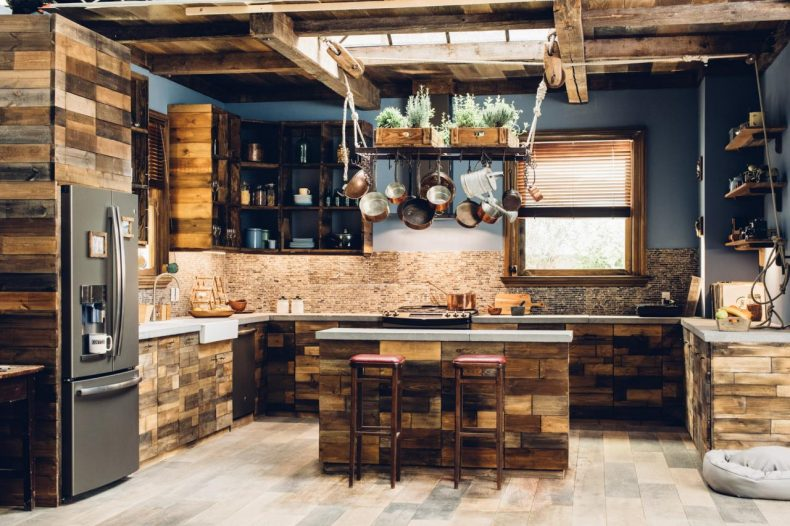 rustic wood kitchen