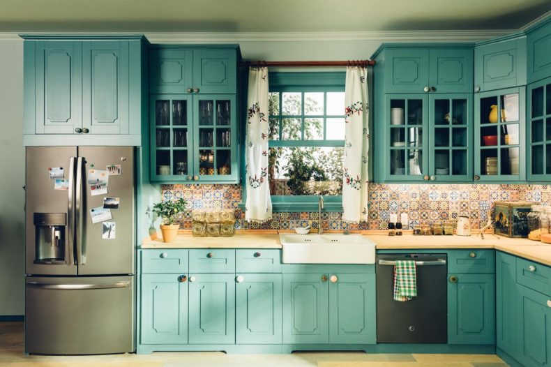 teal cabinets slate appliances