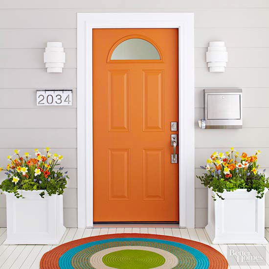 Better Homes and Gardens Orange Door & 27 Best Front Door Paint Color Ideas - Home Stories A to Z