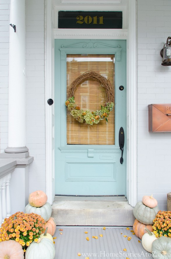 Fall Porch Home Stories A to Z. Wythe Blue by Benjamin Moore.
