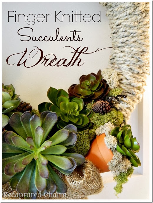 Finger Knitted Succulent Wreath