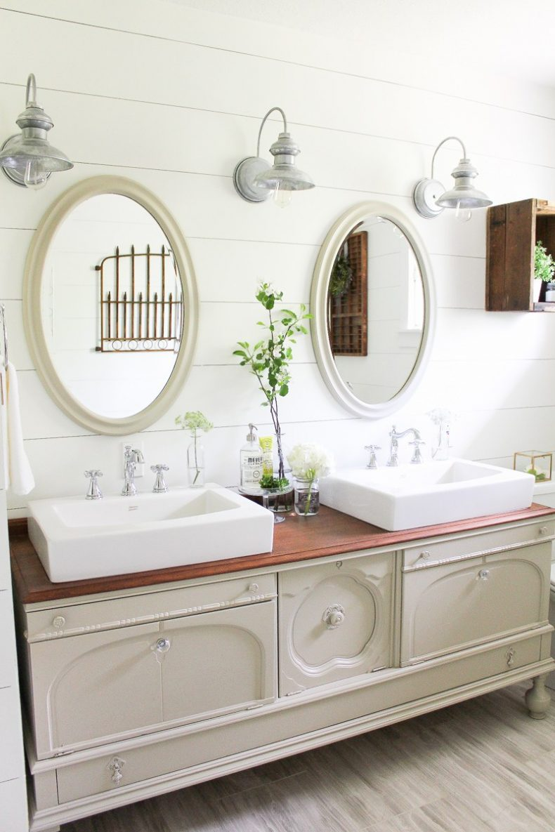 Delta cassidy faucets in farmhouse bathroom