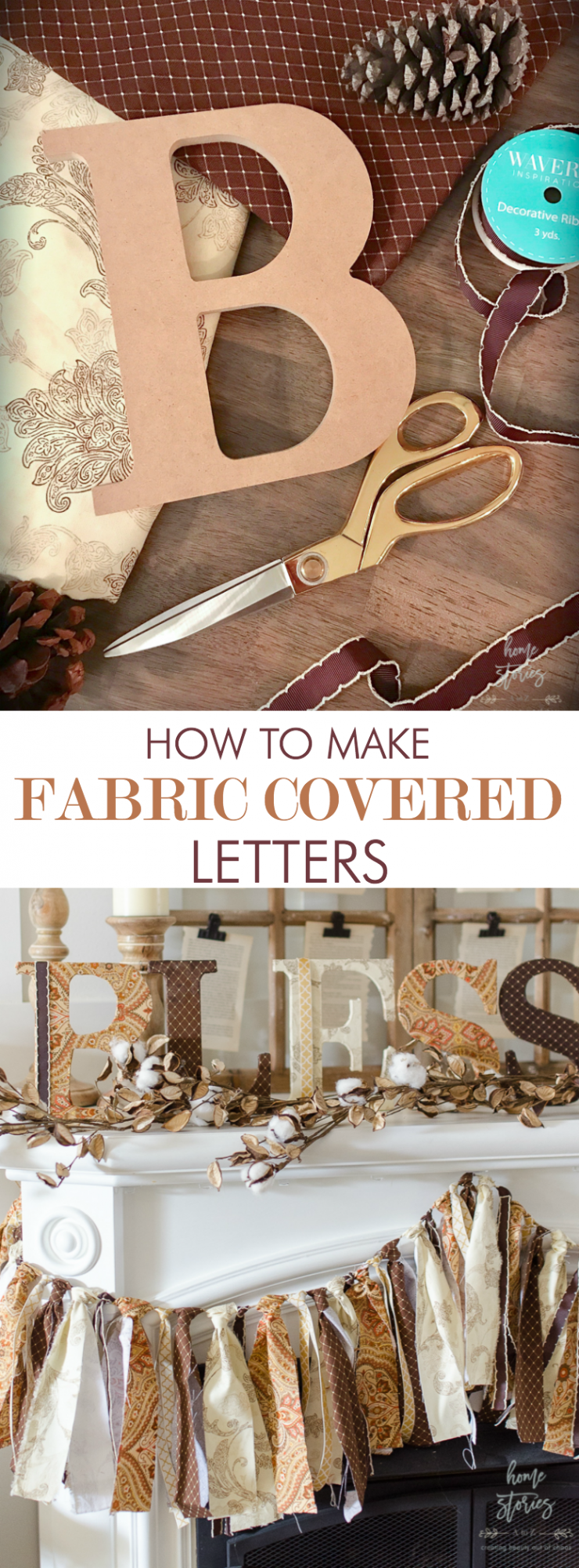 fabric covered letters decoupage