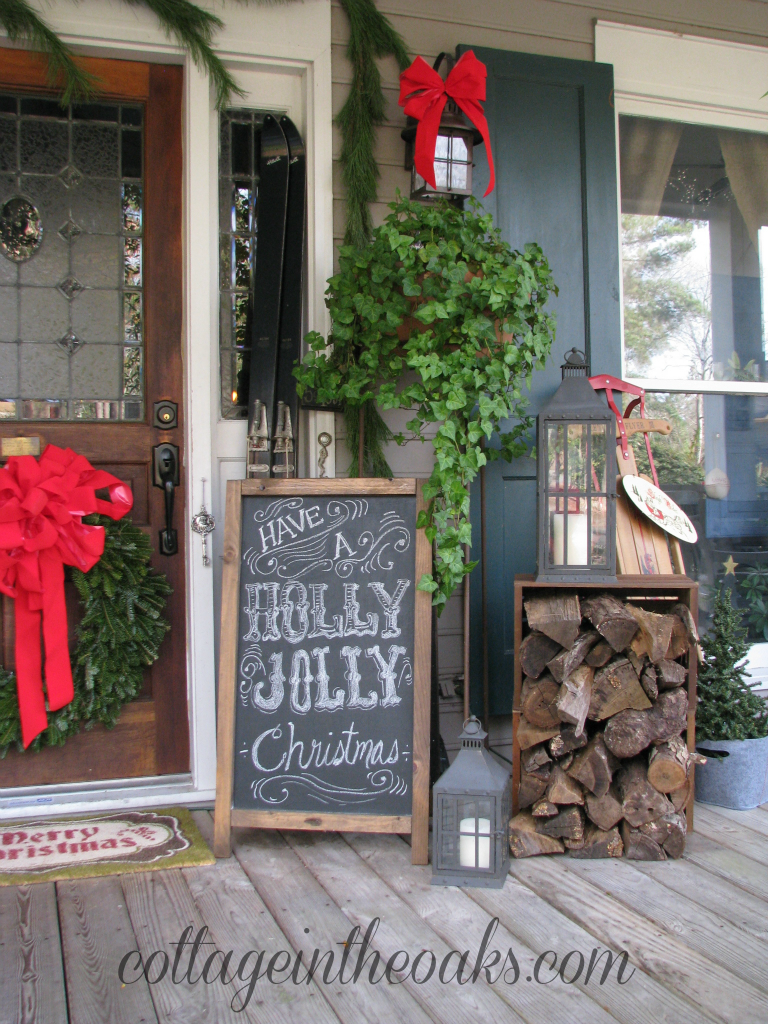 chalkboard art christmas porch by cottage in the oaks - Front Porch Christmas Decorations Ideas