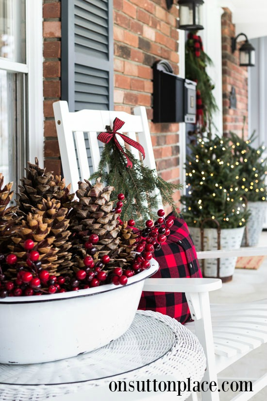 festive frugal christmas porch by on sutton place - Farmhouse Christmas Decorating Ideas