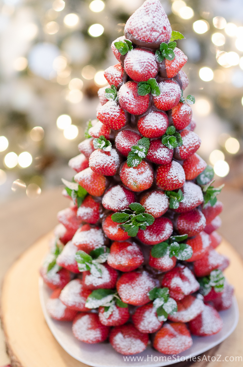 Strawberry christmas ornaments - Christmas Desserts Chocolate Covered Strawberry Christmas Tree 11