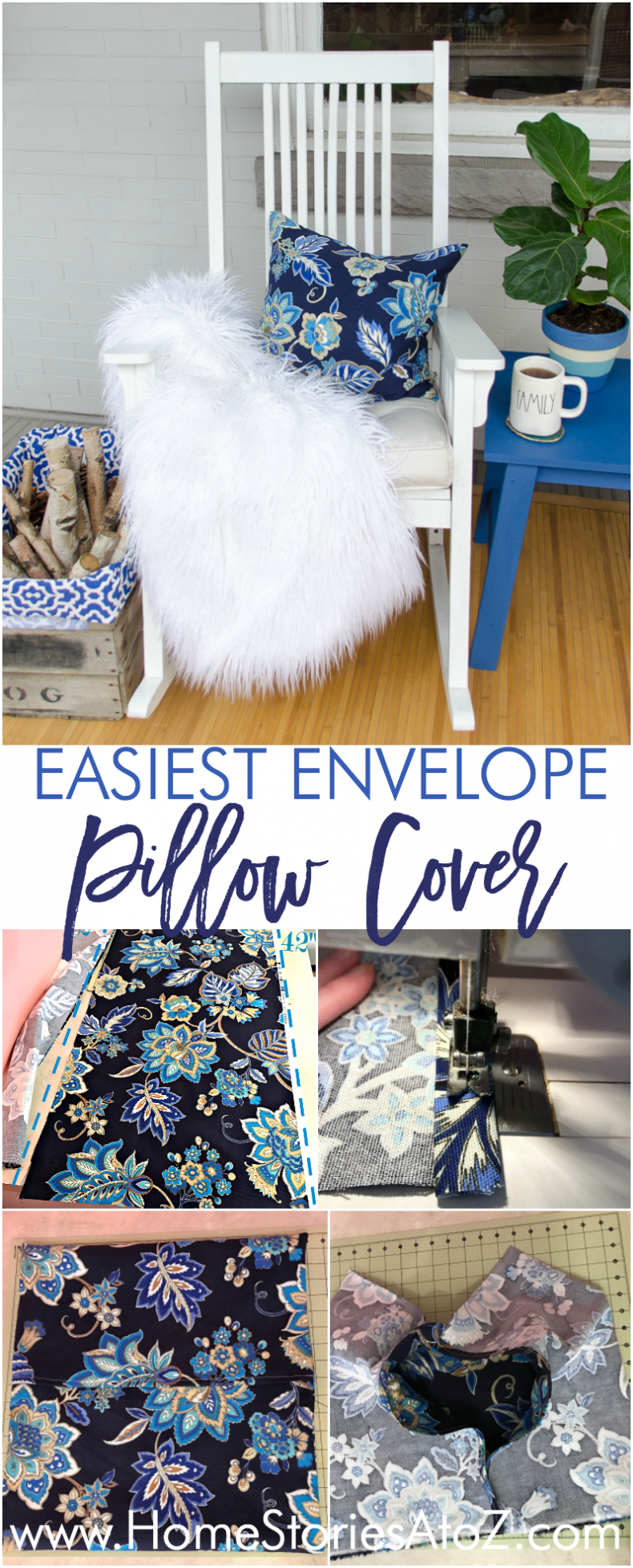 Easy One Piece Fabric Envelope Pillow Cover Tutorial