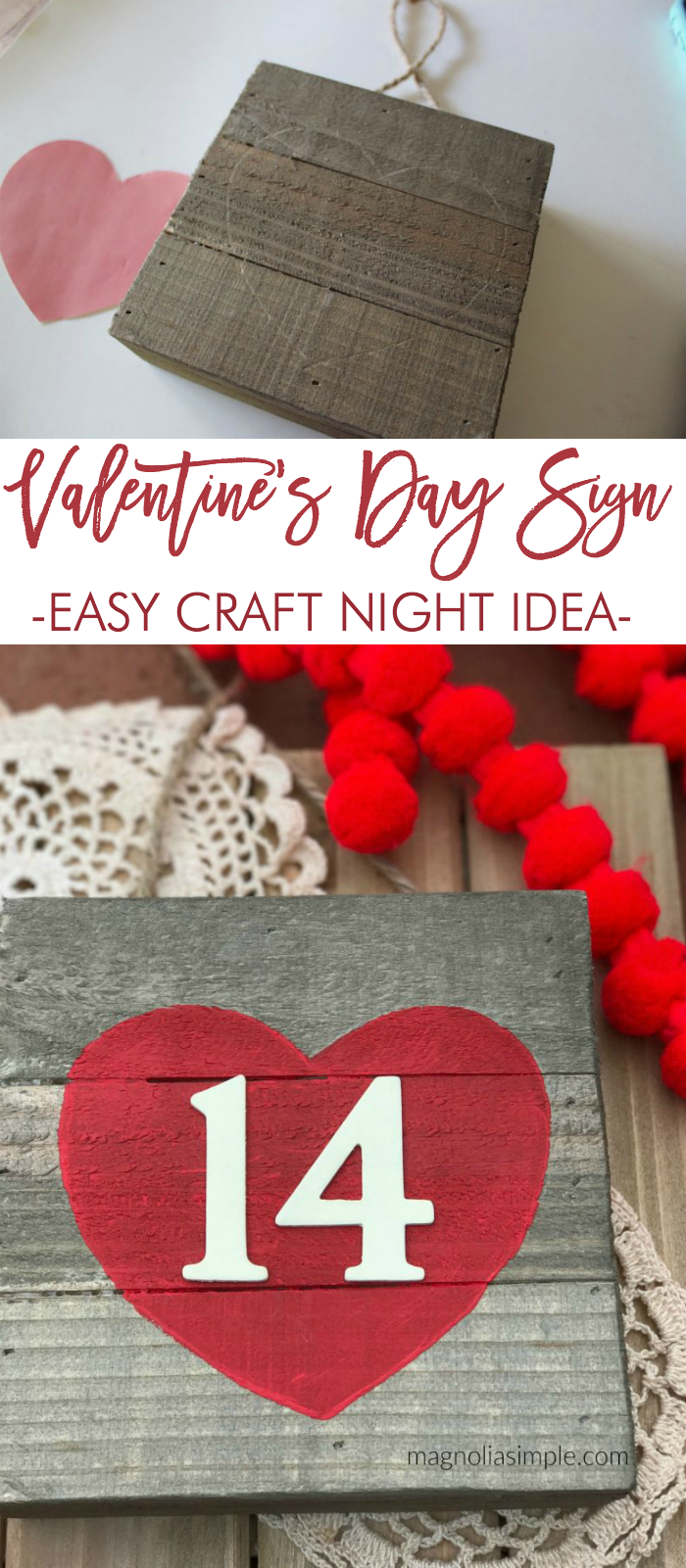 Valentine's Day Sign easy valentine craft idea easy craft night craft