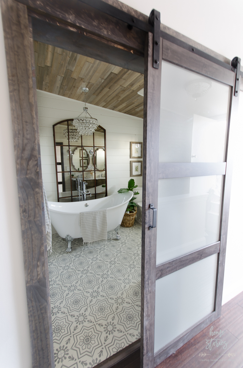 and modern version of this door in white with chrome hardware for around the same price this is the masonite solid core 4 lite frosted glass barn door - Frosted Glass Barn Door