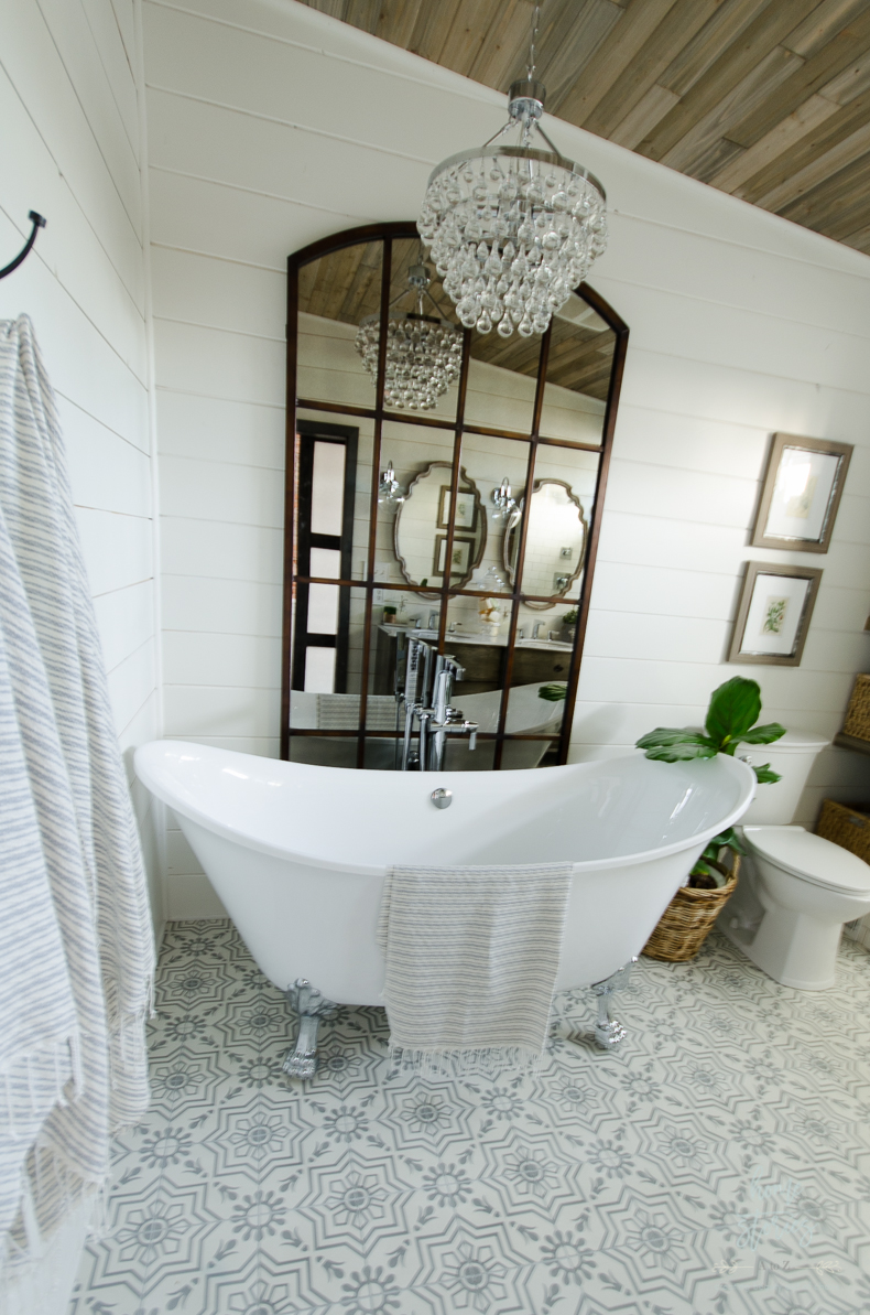 Elegant I hope you enjoyed touring my urban farmhouse bath remodel It was an honor to take inspiration from the world weave it into my design