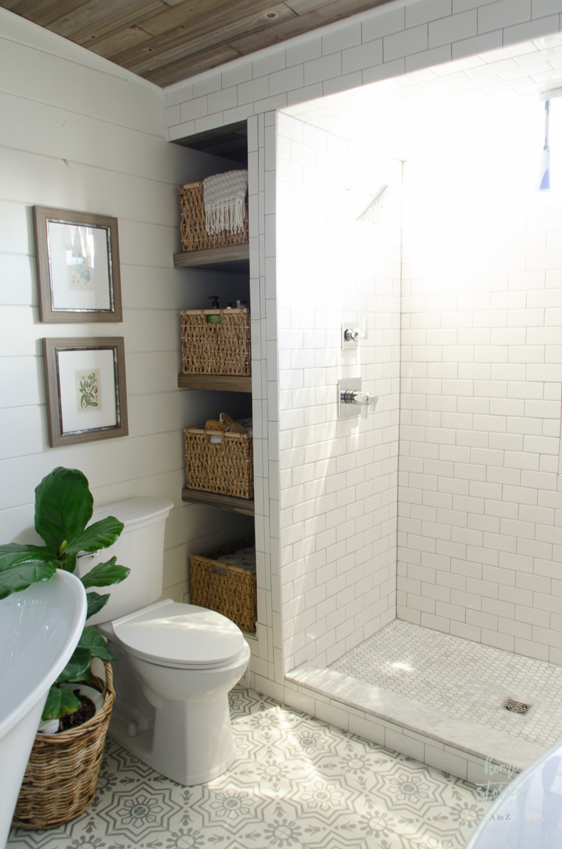 How to build bathroom shelves next to shower for Urban bathroom ideas