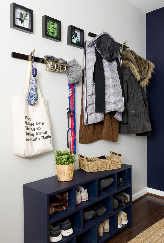 DIY shoe cubby mudroom