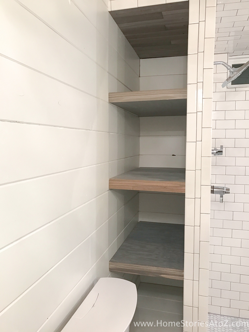Nice Bathroom Shelves Step Add baskets and enjoy