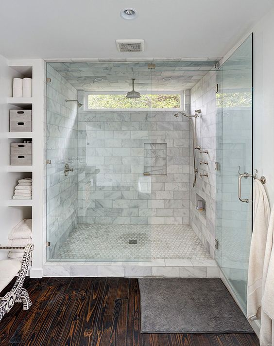 Great I had already designed my shower with a similar window and shower head layout so this design was the perfect inspiration for our shelves
